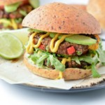 Vegan sweet potato black bean burger