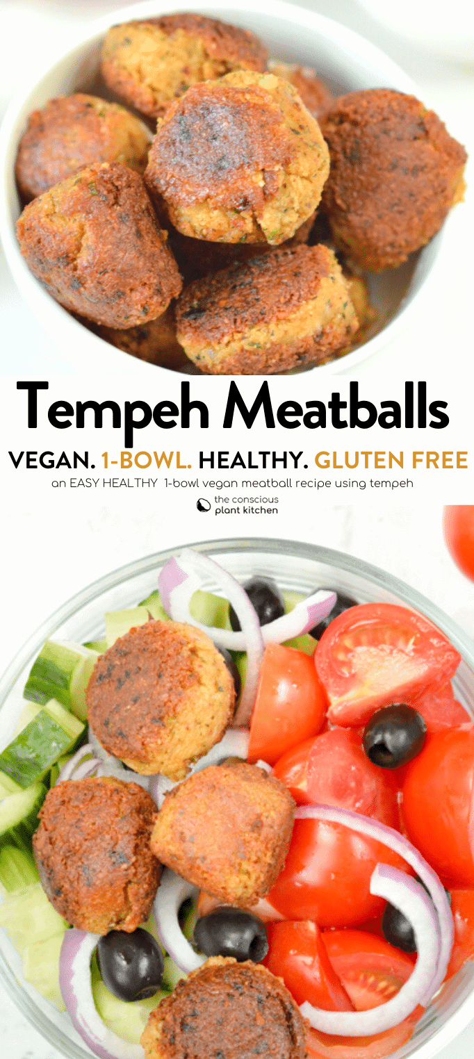 TEMPEH MEATBALLS perfect for salad or appetizers #tempeh #veganappetizers #veganmeatballs #meatballs #veganrecipes #healthy #easy #1bowl #whatis #vegan #salad