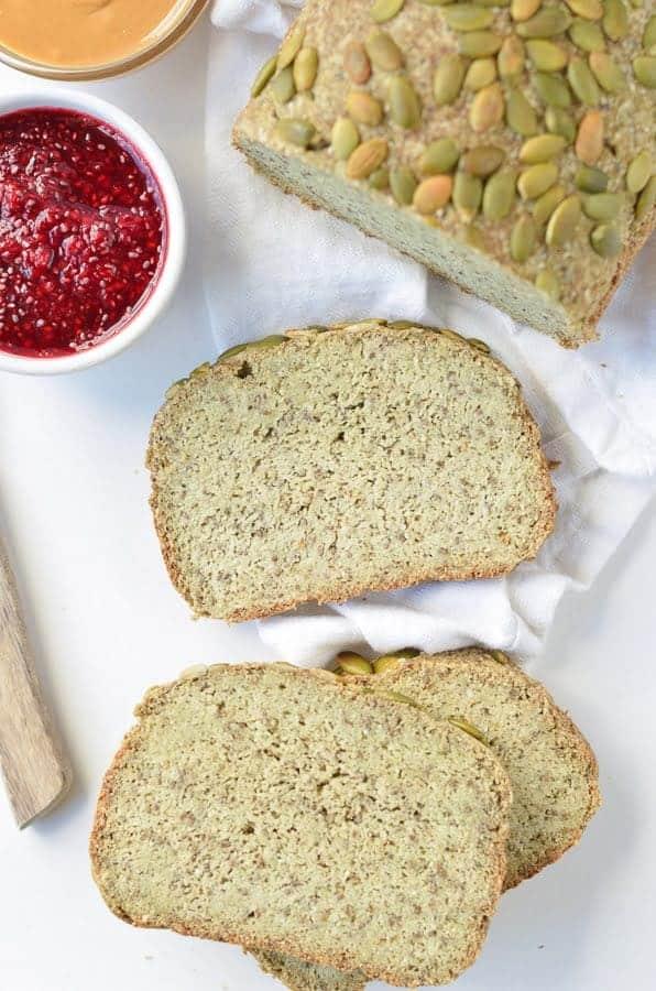 KETO BREAD LOAF VEGAN, GLUTEN FREE 2.2 g net carb per slice #ketovegan #veganketo #ketobread #veganglutenfreebread #veganbread #veganpaleo #vegan #lowcarbbread #eggfree #noeggs #lowcarb #easy #healthy