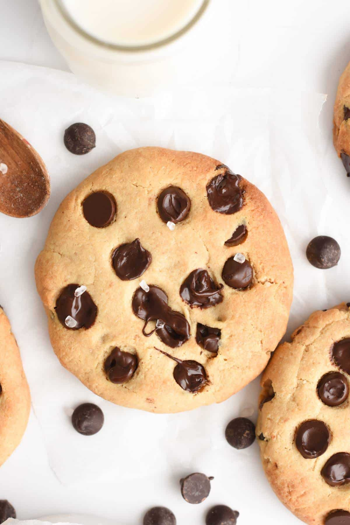 These Healthy Tahini Cookies with cholate chips are chewy almond flour tahini cookies perfect as a sweet, healthy snack any time of the day. Bonus, these healthy tahini cookies are also vegan, gluten-free, refined-sugar-free and egg-free!