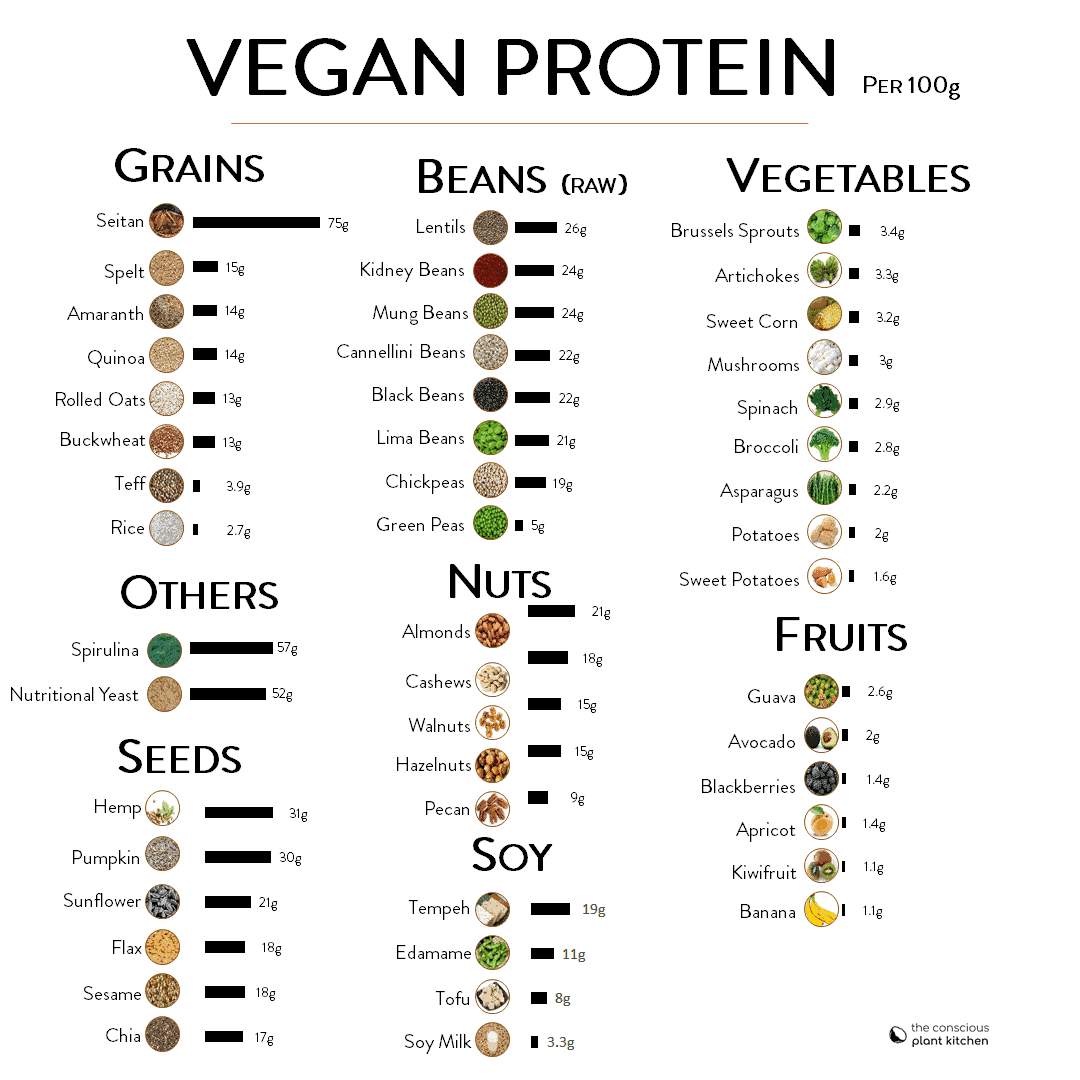 Vegan protein sources chart, provides grams of protein per 100g #plantbased #vegan #protein #proteinsources #vegetarian #cleanproteins