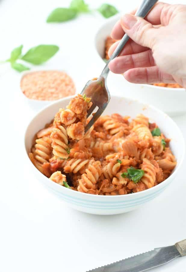 Healthy red lentil pasta