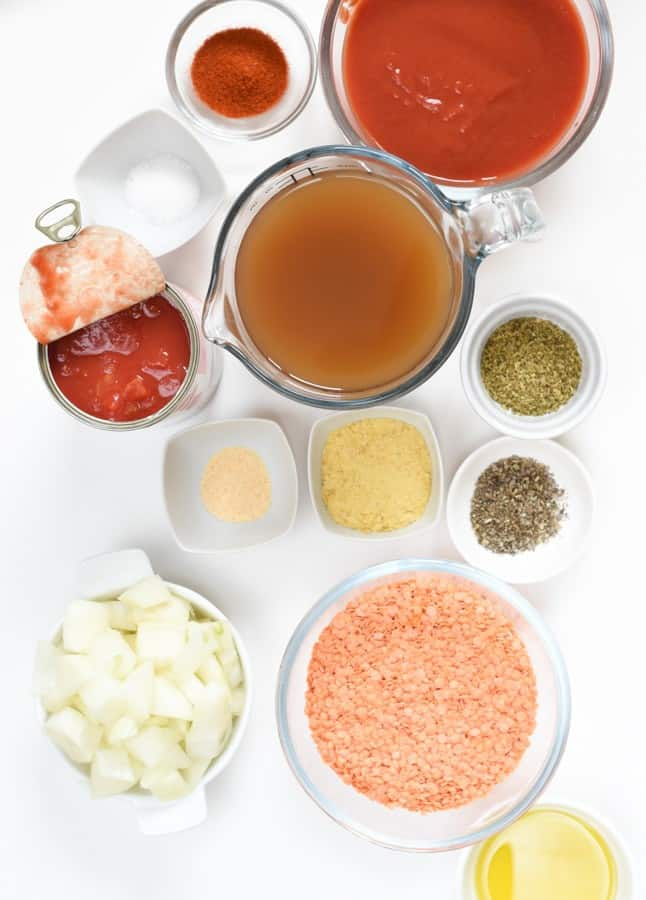 red lentil pasta ingredients