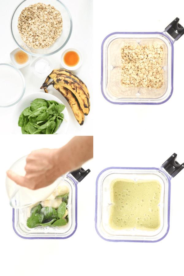 How to make banana spinach pancakes batter