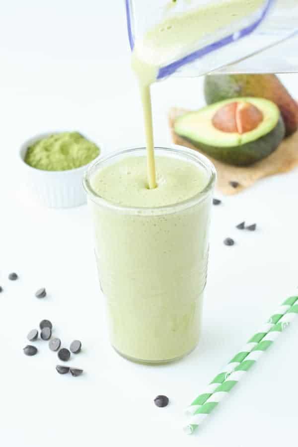 Matcha green smoothie with avocado