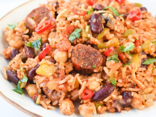 Vegan jambalaya with Cajun seasonings