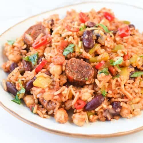 Vegan jambalaya with Cajun seasonings