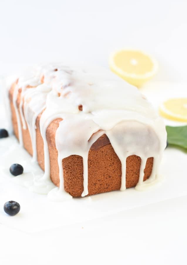 Vegan lemon pound cake glazing