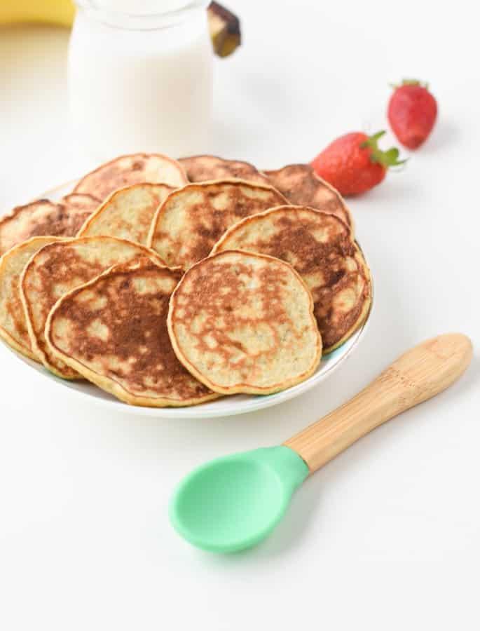 Vegan banana pancakes for baby