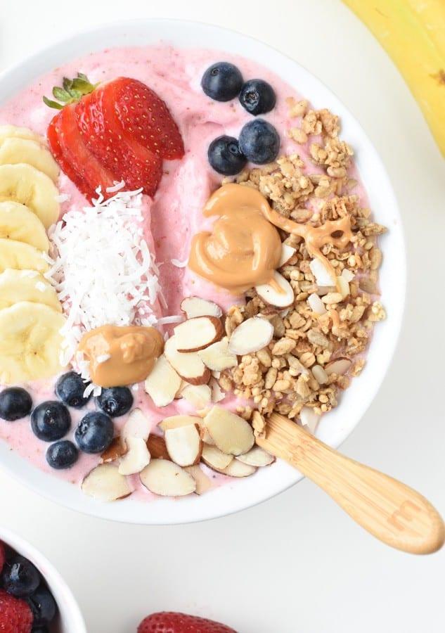 Strawberry and banana smoothie bowl