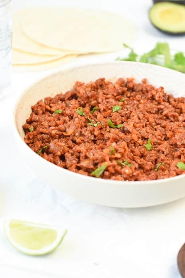Lentil taco meat filling
