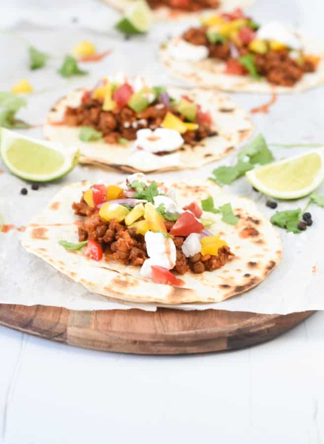 Lentil taco with taco meat