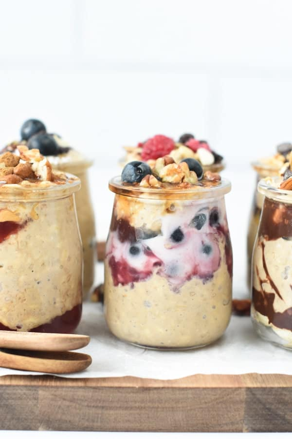 overnight oats with almond milk and protein