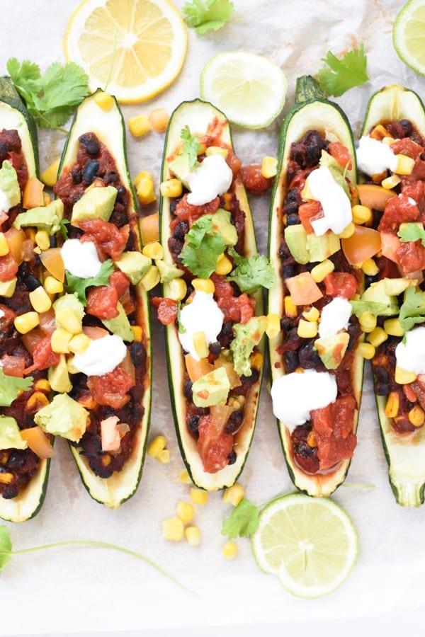 Vegan stuffed zucchini boats
