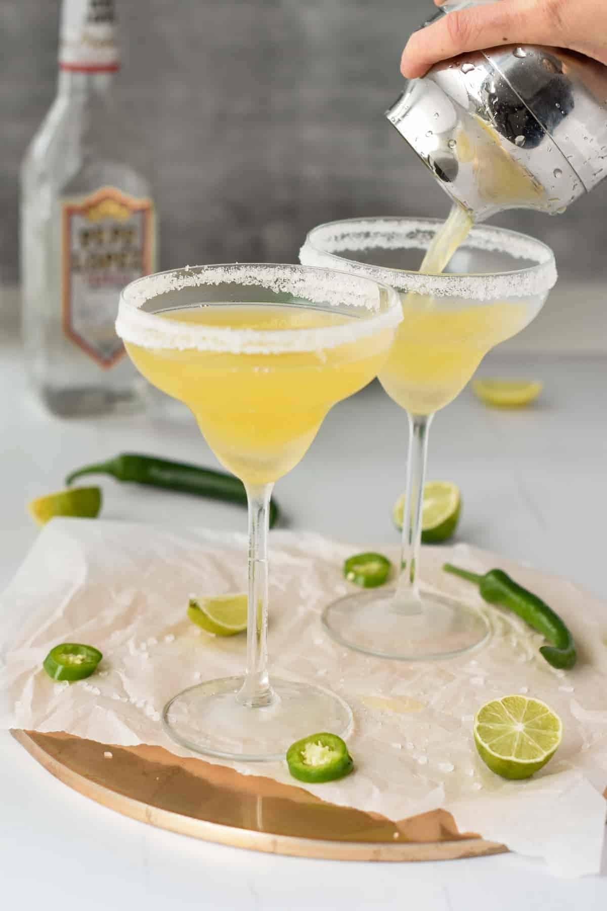 Spicy Skinny Margarita Poured in Margarita Glasses