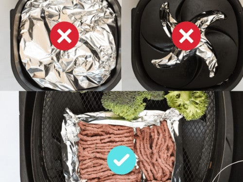 Where to put foil in the air fryer