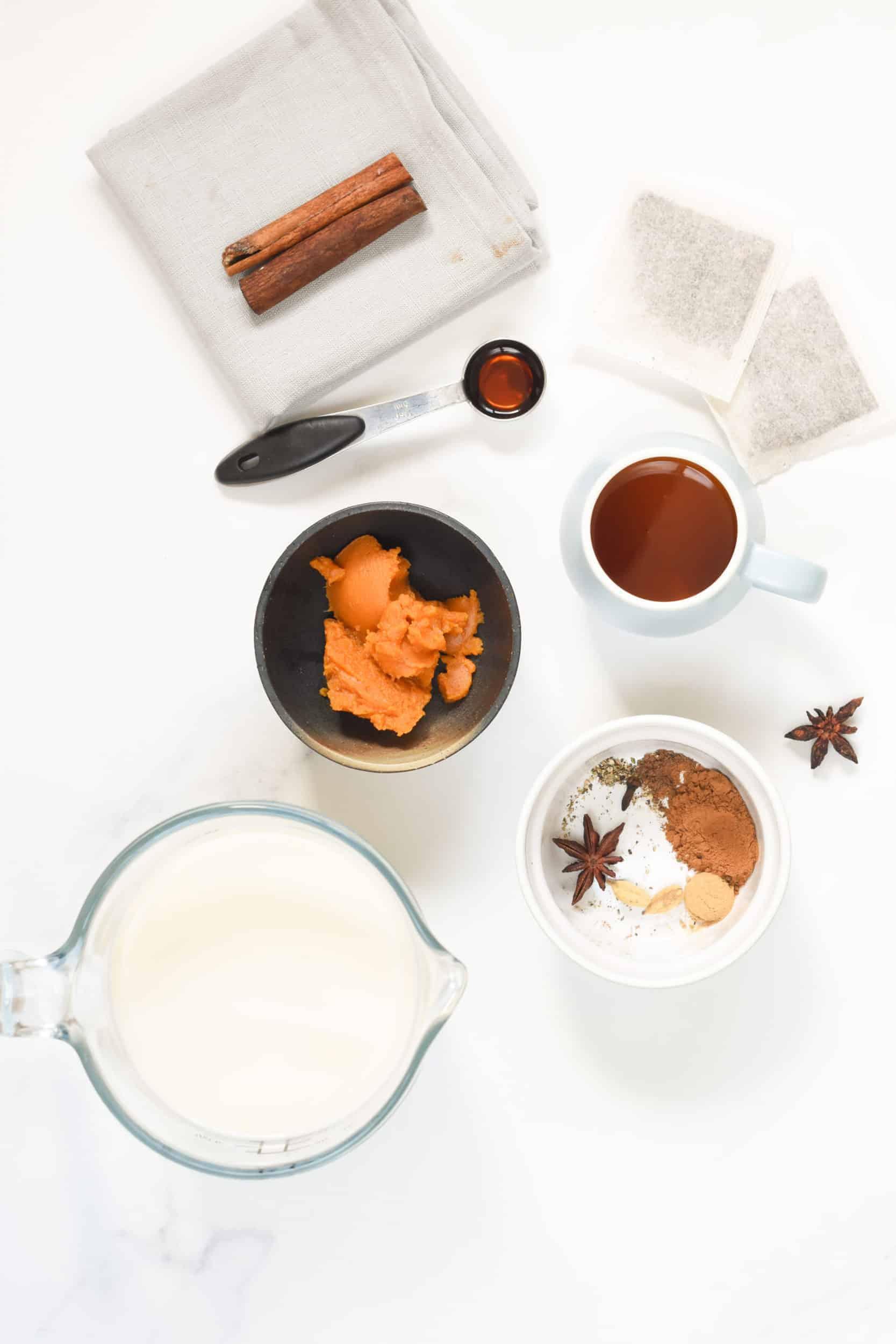 Pumpkin Spice Chai Latte ingredients